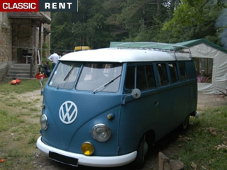 location volkswagen combi bleu de 1960 louer volkswagen. Black Bedroom Furniture Sets. Home Design Ideas