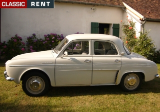 location renault dauphine blanc de 1960 louer renault dauphine blanc de 1960. Black Bedroom Furniture Sets. Home Design Ideas