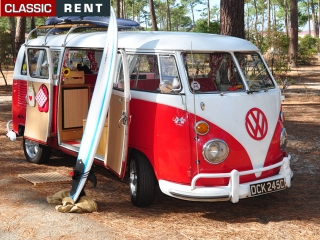location volkswagen combi rouge de 1965 louer volkswagen combi rouge de 1965. Black Bedroom Furniture Sets. Home Design Ideas